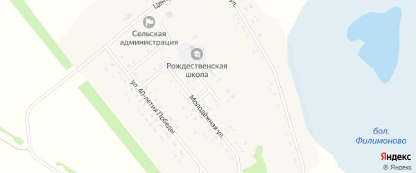 Березовый переулок на карте Рождественского поселка Новосибирской области с номерами домов