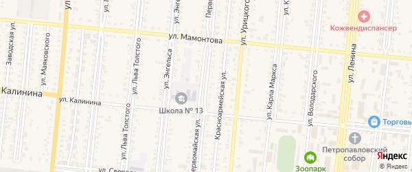 Первомайская улица на карте села Знаменки с номерами домов