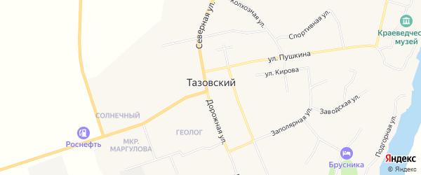 Карта Тазовского поселка в Ямало-ненецком автономном округе с улицами и номерами домов
