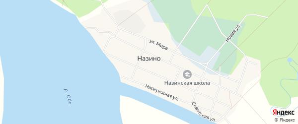 Карта села Назино в Томской области с улицами и номерами домов