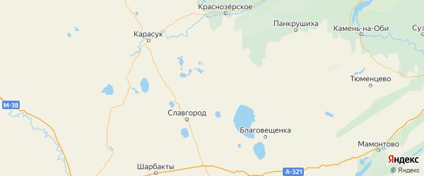 Карта Немецкого Национального района Алтайского края с населенными пунктами и городами