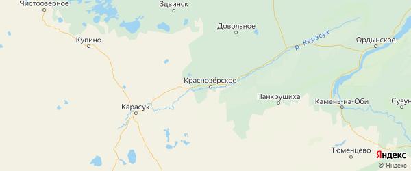 Карта Краснозерского района Новосибирской области с городами и населенными пунктами