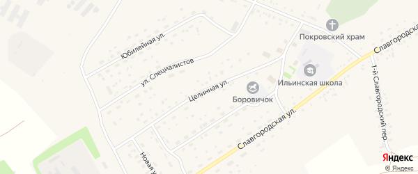 Целинная улица на карте села Новоильинки Алтайского края с номерами домов