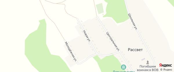 Новая улица на карте поселка Рассвета с номерами домов