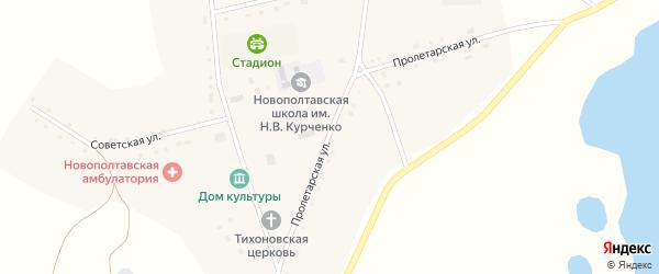 Пролетарская улица на карте села Новополтавы Алтайского края с номерами домов