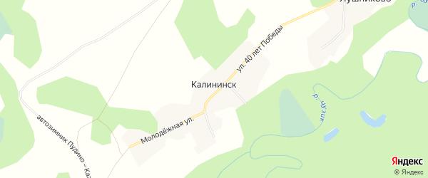 Карта поселка Калининска города Кедрового в Томской области с улицами и номерами домов