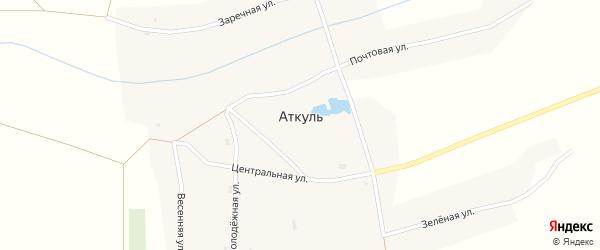 Весенняя улица на карте села Аткуля Новосибирской области с номерами домов