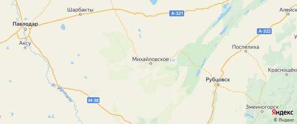 Карта Михайловского района Алтайского края с городами и населенными пунктами