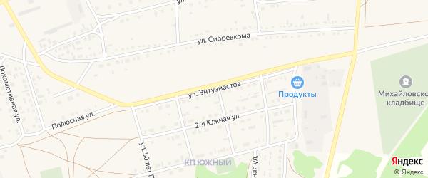Улица Энтузиастов на карте Михайловского села с номерами домов