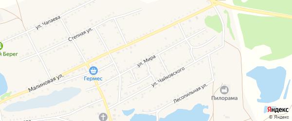 Мира 1-й заезд на карте поселка Малинового Озера с номерами домов