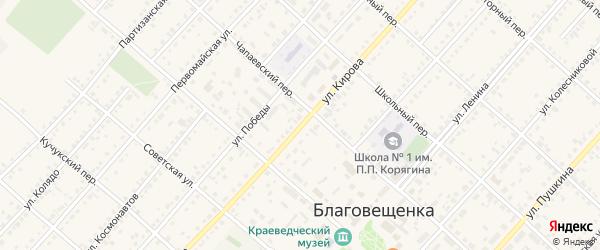 Улица Кирова на карте поселка Благовещенки Алтайского края с номерами домов