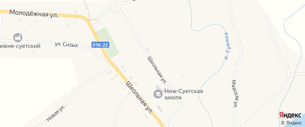 Школьная улица на карте Боронского поселка с номерами домов