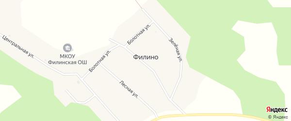 Лесная улица на карте поселка Филино Новосибирской области с номерами домов