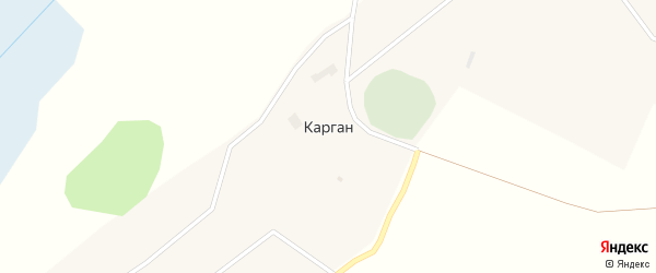 Центральная улица на карте села Каргана Новосибирской области с номерами домов
