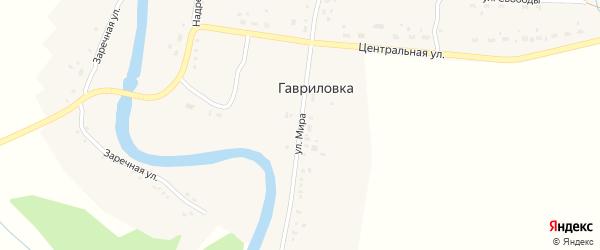 Улица Мира на карте поселка Гавриловки Новосибирской области с номерами домов