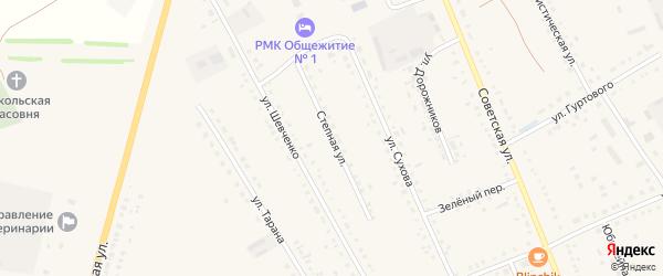 Степная улица на карте села Родино с номерами домов