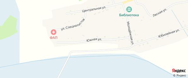 Южная улица на карте села Кольцовки Новосибирской области с номерами домов