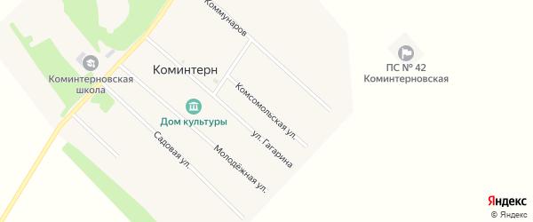Комсомольская улица на карте поселка Коминтерна с номерами домов
