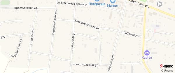 Комсомольская улица на карте Каргата с номерами домов