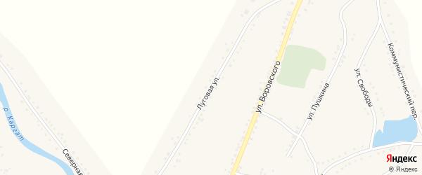Луговая улица на карте Каргата с номерами домов