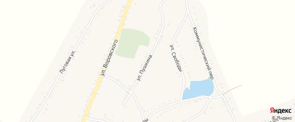 Улица Пушкина на карте Каргата с номерами домов