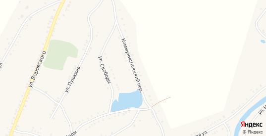 Коммунистический переулок в Каргате с номерами домов на карте. Спутник и схема онлайн