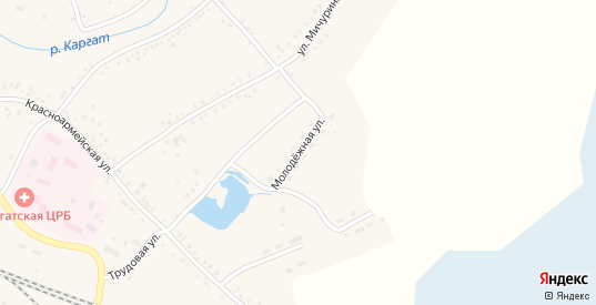 Молодежная улица в Каргате с номерами домов на карте. Спутник и схема онлайн