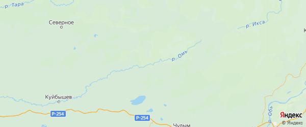 Карта Убинского района Новосибирской области с городами и населенными пунктами