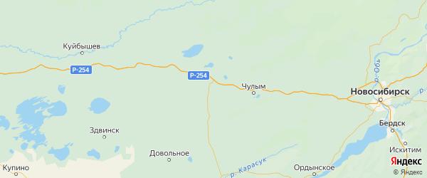 Карта Каргатского района Новосибирской области с городами и населенными пунктами