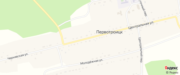Центральная улица на карте села Первотроицка Новосибирской области с номерами домов