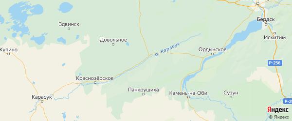 Карта Кочковского района Новосибирской области с городами и населенными пунктами