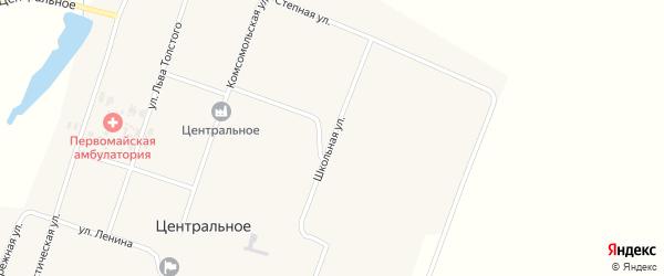 Школьная улица на карте Центрального села с номерами домов