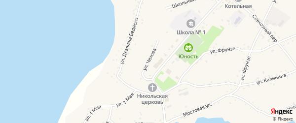 Улица Чехова на карте села Леньки с номерами домов