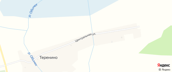 Центральная улица на карте поселка Теренино Новосибирской области с номерами домов