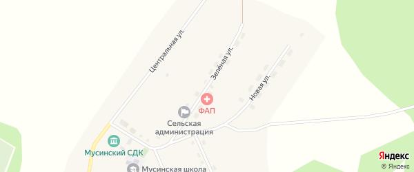 Зеленая улица на карте села Мусы Новосибирской области с номерами домов