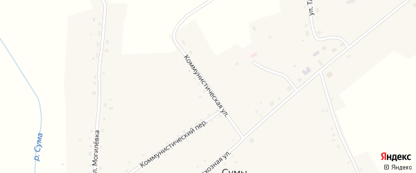 Коммунистическая улица на карте села Сум Новосибирской области с номерами домов