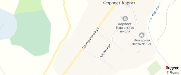 Центральная улица на карте села Форпост-каргата Новосибирской области с номерами домов