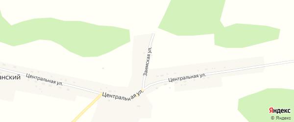 Заимская улица на карте Кубанского поселка Новосибирской области с номерами домов