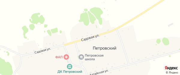 Садовая улица на карте Петровского поселка Новосибирской области с номерами домов