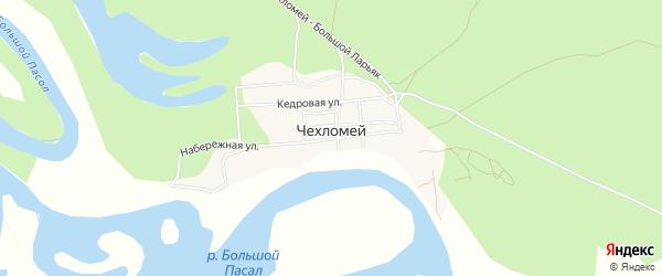 Карта деревни Чехломея в Ханты-Мансийском автономном округе с улицами и номерами домов