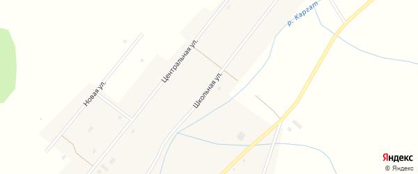 Школьная улица на карте села Верха-Каргата Новосибирской области с номерами домов