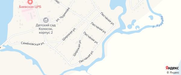 Песчаная улица на карте села Баево с номерами домов