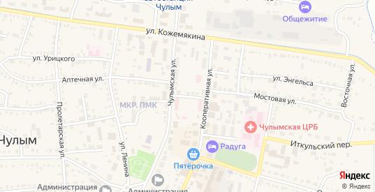 Больничный переулок в Чулыме с номерами домов на карте. Спутник и схема онлайн