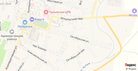 Октябрьская улица в Чулыме с номерами домов на карте. Спутник и схема онлайн
