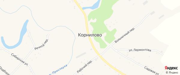 Больничный переулок на карте села Корнилово с номерами домов