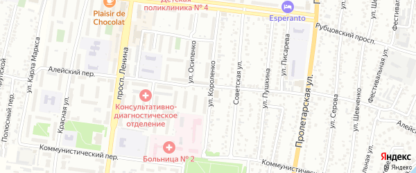 Алейский переулок на карте Рубцовска с номерами домов