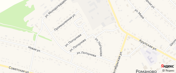Улица Ползунова на карте села Романово с номерами домов
