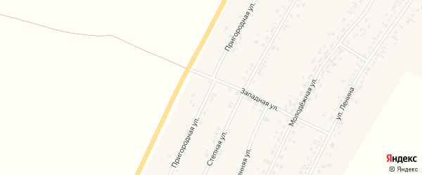 Пригородная улица на карте села Безрукавки Алтайского края с номерами домов
