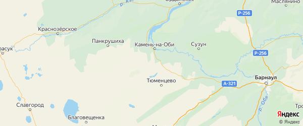 Карта Каменского района Алтайского края с населенными пунктами и городами