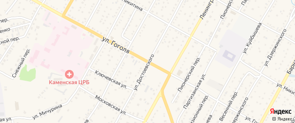Улица Гоголя на карте Камень-на-Оби с номерами домов